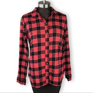 Red Black Plaid Flannel Button Down Shirt Large
